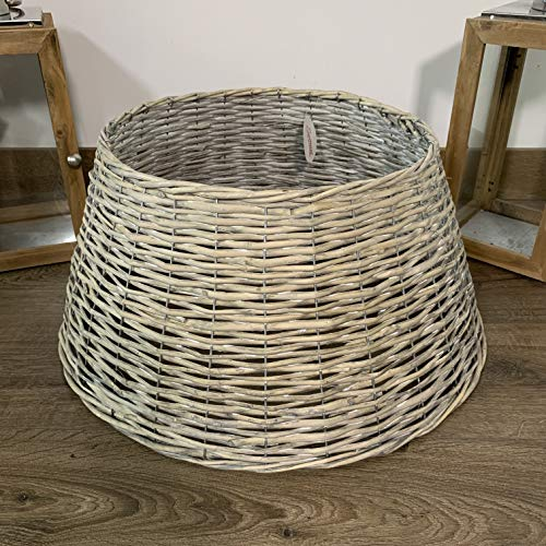 Christmas Tree Wicker Skirt, Woven Wicker & White Wash