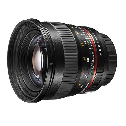 Walimex Pro 50mm 1:1,4 DSLR Porträt Objektiv für Canon EOS schwarz (manueller Fokus, für Vollformat Sensor gerechnet, IF, Filterdurchmesser 77mm, mit abnehmbarer Gegenlichtblende)