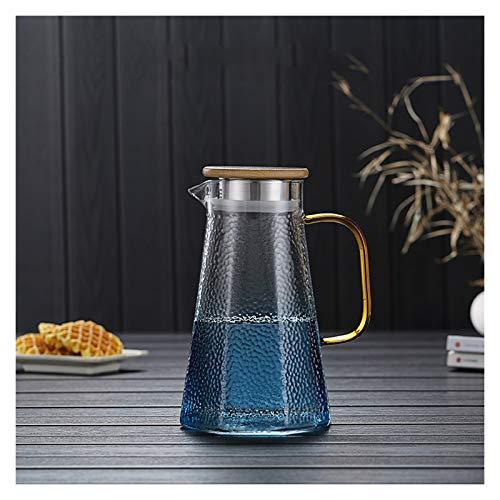 Jarra de Agua Jarra de cristal azul con tapa y mango Tetera de vidrio de borosilicato resistente al calor fácil de limpieza para el jugo, la leche, las bebidas frías o calientes Tetera para té Helado