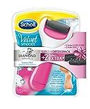Scholl Velvet Smooth Express (pink) - elektrischer Hornhautentferner für die Füße -  Vorteilspack mit 1 Gerät (wasserfest) und 3 Ersatzrollen (2 Extra Stark, 1 Fein)