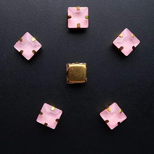 Configuración de garra de oro de forma cuadrada 50 piezas/p 8 mm caramelo de gelatina y colores AB cristal de vidrio coser en cuentas de diamantes de imitación ropa recorte de bricolaje