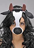 Kuh Maske auf Stirnband mit Ohren und Hörnern