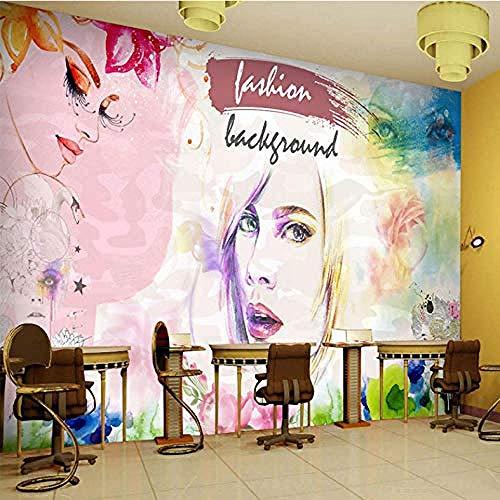 Fotobehang Manicure Winkel Behang 3D Kunst Tattoo Winkel Salon Achtergrond Muur Schoonheid Muurschildering Grijs Muursticker Border Woonkamer voor Slaapkamer Rose Blauw muurschildering Kinderen 30 cm.