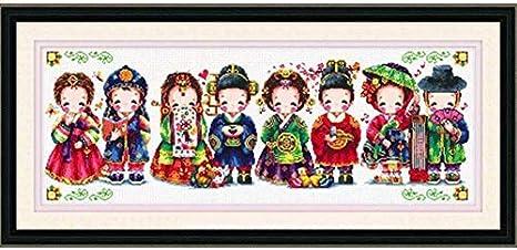Joyautum DIY Stamped Cross Stitch Embroidery Kits Silk//Cotton Thread Painting DIY Needlework New Year Home Decor Korean Wedding 11ct Silk Threads