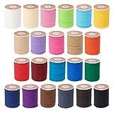 OLYCRAFT - Cordón de Poliéster Encerado de 242 m, 1 mm, para Coser, Hilo Encerado, Hilo para Coser, para Manualidades, Pulseras, Collar, Fabricación de Joyas, Pulsera de la Amistad, 22 Colores