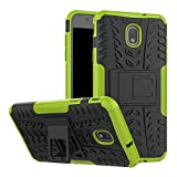 Galaxy J7 2018 Case, Folice [Shockproof] Hybrid Rugged Soft Rubber Hard PC Tough Dual Layer Protective Case Cover with Kickstand for Samsung Galaxy J7 V 2nd Gen /J7 Refine /J7 Star/ J7 Au (Green)