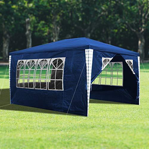 wolketon 3x4m Gartenpavillon Stabiles Hochwertiges Festzelt Pavillion UV-Schutz Garten Strand Partyzelt Blau mit 4 Seitenteilen Praktischer Zelt