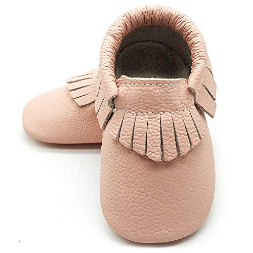 Owlowla Baby Moccasins Leather Soft Sole Newborn Crib Shoes for Boys and Girls(Blush,6-12months)