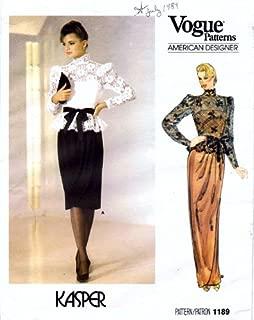 Vogue 1189 Sewing Pattern Misses Kasper Top Cocktail Evening Dress Size 8