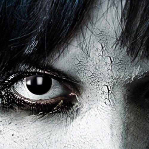 Black Witch, schwarze 3-Monatslinsen, PAAR, schwarz, Vampir Make up/Vampir Schinke, Halloween Kontakt Linse, Damon, Hexe, Zombie,