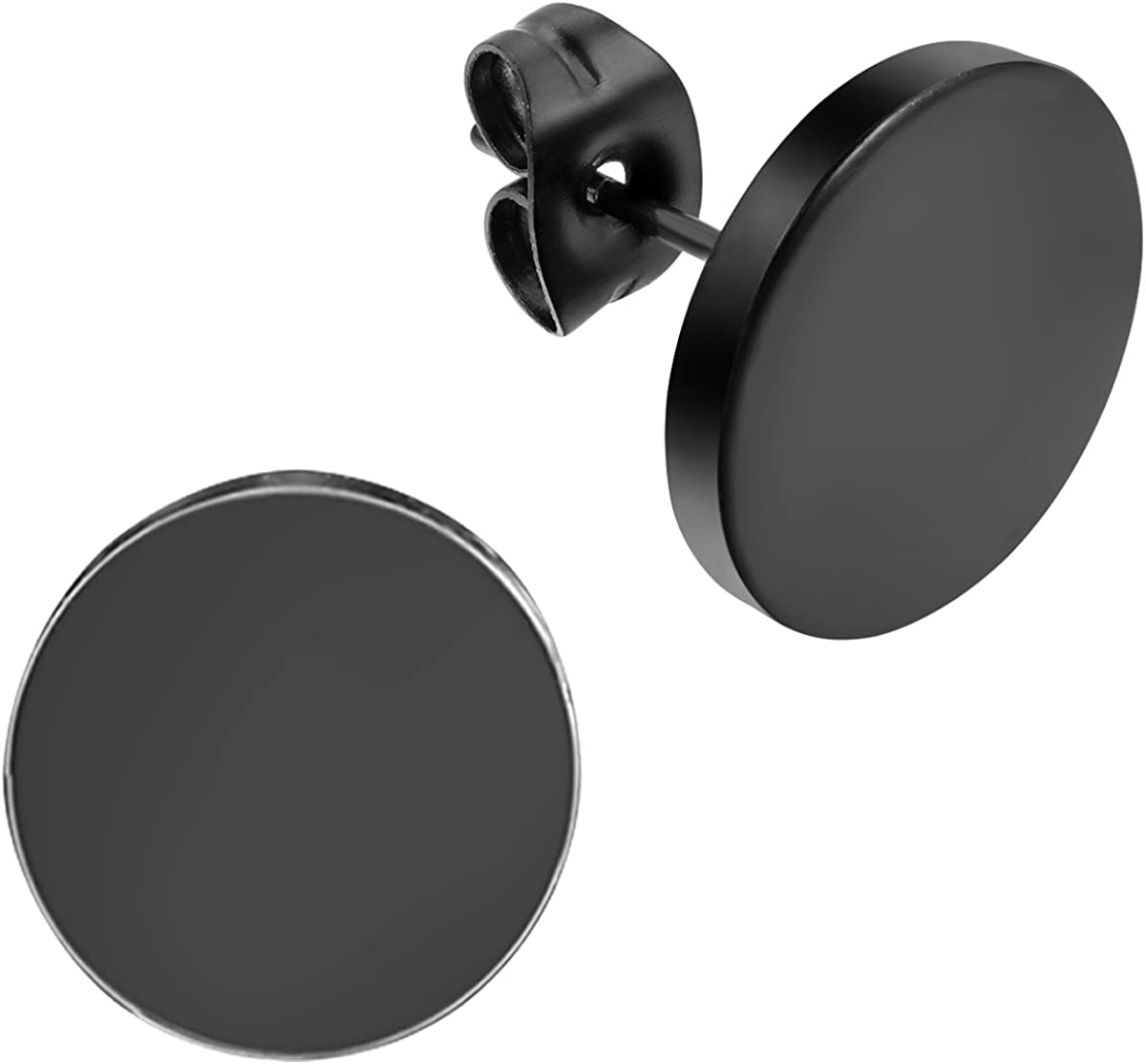 Flongo Men's Women's 12mm Round Stainless Steel Black Tunnel illusion Tapers Cheater Faux Fake Stud Earrings