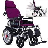 HIGHKAS Fauteuils roulants électriques, avec Appui-tête Scooter médical portatif léger en Fauteuil Roulant électrique pour mobilité et mobilité des Personnes âgées, Dossier réglable et Angle pédale