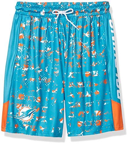 Zubaz Herren Teamcolor Shorts NFL, Herren, NFL Miami Dolphins Team Color Grid Shorts, Sm, blau/orange, Small
