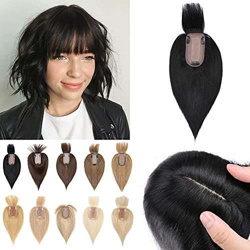 """S-noilite 10"""" Clip in Human Hair Toppers with Wispy Bangs 150% Density Silk Base Crown Top Hairpieces with Fringe Clip on Remy Hair Toupee Wiglet For Women with Thinning Hair 33g #1 Jet Black"""