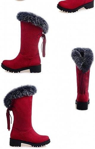 Fuxitoggo zapatos de Invierno para mujeres botas de Nieve Borlas de mujer Más botas Planas de Terciopelo Cabello Corto con Tubo de mujer en el Tubo 30-52 Código de Talla Grande