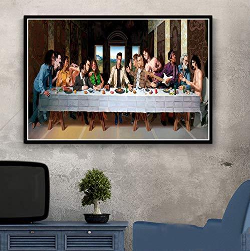 tgbhujk Cartel e Impresiones Estrella de Rock la última Cena Arte Pintura Cuadros de Pared para Sala de Estar decoración del hogar 40 * 60 cm sin Marco