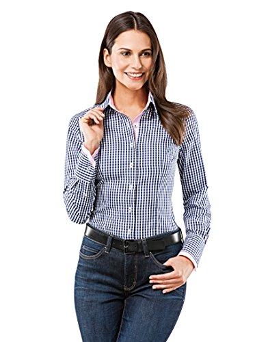 Vincenzo Boretti Damen Bluse kariert tailliert 100% Baumwolle bügelfrei Langarm Hemdbluse elegant festlich Kent-Kragen auch für Business und unter Pullover dunkelblau/weiß 42