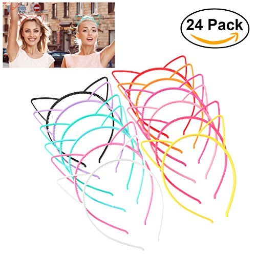 Unomor 24PCS Plastic Cat Ears Headband for Cat Birthday Party Supplies and Daily Decorations, 12 Colors