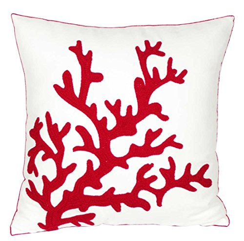DECOPOW Embroidered Nautical Decor Pillow Covers,Square 18 Inches Decorative Canvas Pillow Cover for Nautical Style Deco by (Coral-Red-New)