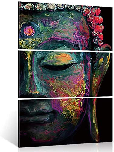 DUKEMG Modern Large Buddha Wall Art Print on Canvas Home Living Room Decorations Wall Art 3 Panel 16x32inch (Framed Ready to Hang)
