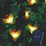 ITICdecor - Guirnalda luminosa solar, 6,5 m, 30 ledes, para exteriores, impermeable, terraza de jardín, interior, fiesta, Navidad, árbol blanco cálido