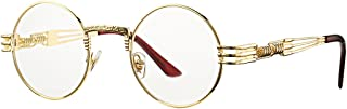 Vintage Round John Lennon Sunglasses Steampunk Gold Metal Frame Clear Sun Glasses