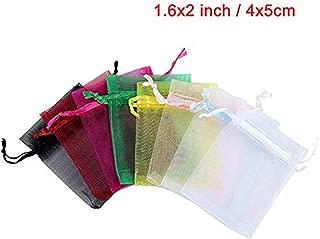 Anleolife 108pcs Mix Color Organza Mini Bag 1.6x2''/4x5cm Sample Display Jewlery Bag Party Favor Bags Organza (108pcs mix colors)