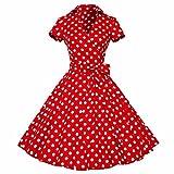 Samtree Womens Polka Dot Dresses,50s Style Short Sleeves Rockabilly Vintage Dress(24W,Polka Dot Red)
