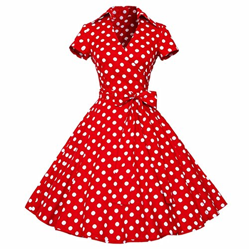 Samtree Womens Polka Dot Dresses,50s Style Short Sleeves Rockabilly Vintage Dress(S(US 2),Polka Dot Red)