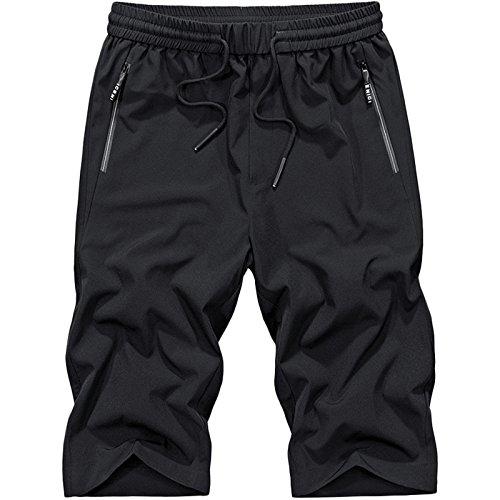 LEOCLOTHO Herren Bermuda Shorts Outdoor Sport Freizeithose Kurze Hose Schnelltrocknend Strand Hosen Schwarz L