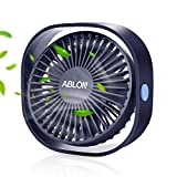 Ablon Desk Fan, Small Table Personal Portable Mini Fan Powered by USB, 3 Speed and Quiet Design for Desktop Office(Pink)