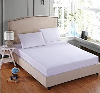1 PC Fitted Sheet Fit Upto 10-12 Inches Deep Pocket 400 Thread Count 100% Egyptian Cotton { Solid Pattern } King 76 X 80 Size Available in Many Color's By RK Linen ( White )