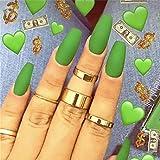 DrecodeDrecode uñas postizas de acrílico mate para fiestas de disfraces, para mujeres y niñas (24 unidades), Talla única, Verde oscuro, 1.00[set de ]