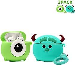 LEWOTE Airpods Carcasa de Silicona Compatible con Airpods de Apple 1 y 2 [Diseño de Dibujos Animados][Niñas o Parejas] (2Pack Round Mr.Q/Sulley)