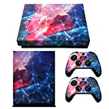 eXtremeRate Full Set Faceplates Skin Stickers for Xbox One X Console Controller with 2 Pcs Home Button Decals - Galaxy Nebula