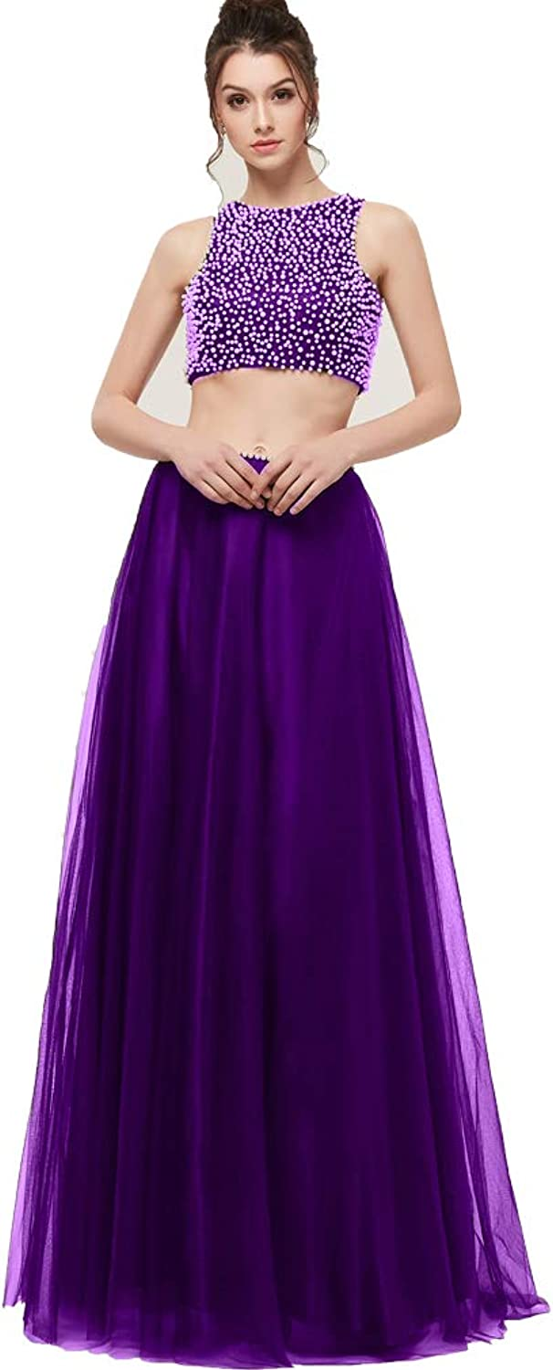 Awishwill Women's Two Pieces Beaded Short Prom Evening Gowns Tulle Long Homecoming Cocktail Dresses