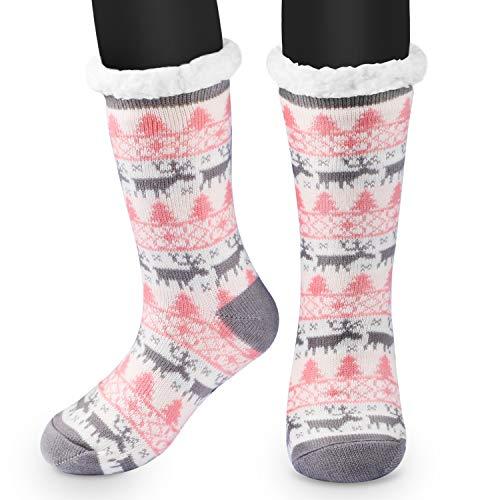 RenFox Mujer Hombre Navidad Calcetines Invierno Calentar Pantuflas de Estar Por Casa Super Suaves Cómodos Calcetines Antideslizante
