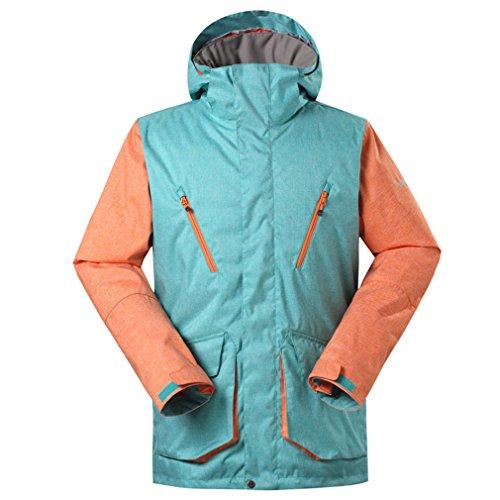GSOU SNOW Homme Coupe-vent Chaud Capuche Rembourré Manteau Imperméable Outdoor Sport d'hiver Veste de ski snowboard neige (Small, Orange001)