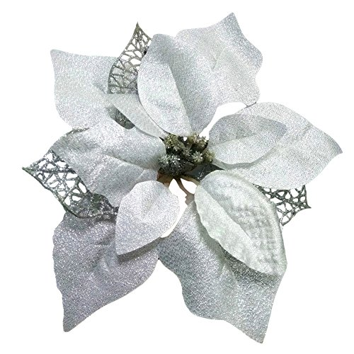 Crazy Night (Pack of 12 Glitter Poinsettia Christmas Tree Ornaments (Silver)