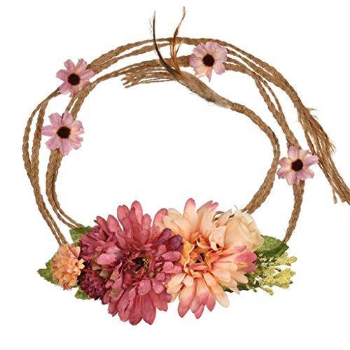 Yanhonin Bande De Cheveux à Fleurs, Serre-tête De Bohême à Fleurs De 1,5 M De Longueur, Ceinture Femmes Accessoires