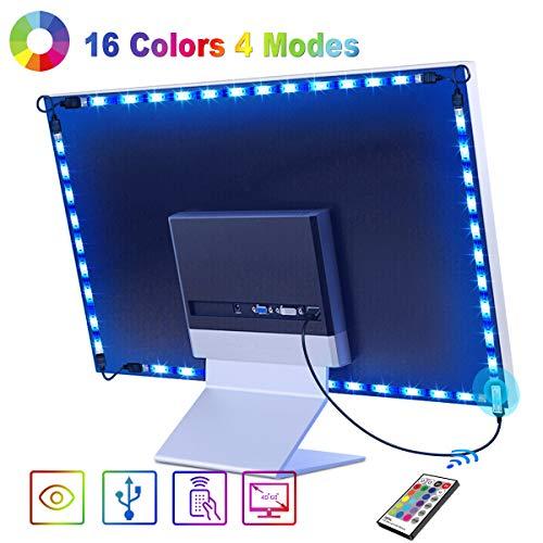 Tira LED 2.2M, OMERIL Tiras LED TV USB Impermeable con Control Remoto, Tira Luz LED RGB con 16 Colores y 4 Modos, Retroiluminacion LED TV para PC, Monitor, HDTV, Gaming, Cine en Casa (40-60 Pulgadas)