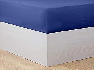 MI CASA Drap-Housse Basic 105 OSC Bleu foncé, pour lit de 105 cm