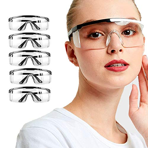 Fashion Safety Goggles 5pcs Protective Glasses Clear FogProof Adjustable Windproof and splashproof Protection Eyewear for Adult Children(5pcs)