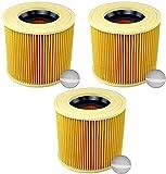 3x Cartouche Filtre Cartouche Aspirateur Filtre pour Kärcher WD3 Premium WD2 WD3 WD3 MV3 WD3P Kit d'Extension remplace 6.414-552.0, 6.414-772.0, 6.414-547.0