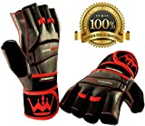 Crown Gear Weightlifting Gloves for Gym Fitness Crossfit Bodybuilding - Workout Weight Lifting Gloves for Men & Women - Dominator Leather Crossfit Training Gloves w. Wrist Support Wraps