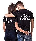 Couple T-Shirt Her Queen His King Partner-T-Shirt Damen und Herren Couple-Shirt Geschenk für Verliebte 1 Stück (Schwarz-King, M)