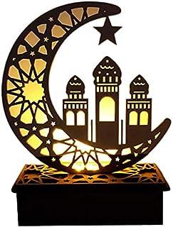 Décoration en bois Eid Mubarak - Lampe LED en bois - Décoration de table - Décoration de table en bois du Ramadan - Étoile...