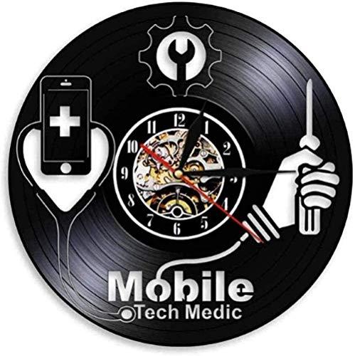 Vinyl Wanduhr Smart Devices Krankenhaus Fix Zeichen Handy Reparatur Shop Logo Wandkunst Wanduhr Mobile Tech Medic Vinyl Schallplatte Wanduhr-Mit LED