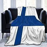 YuLiZP Decke Wohn Kuscheldecken,Flanell Fleece Decke Super Soft Warm Gemütliche Decke Sofa Leichte Ganzjahres-Bettdecke Für Home Office Travel Couch Flagge Von Finnland 80x60 inch