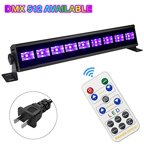 30W Black Light Bar Glow Party Light Dimmable Stage UV Light for DJ Party Bar Halloween Christmas Festival Lighting, Support Remote DMX512 and Manual Control, 7 Flicker Modes Black UV Stage Light